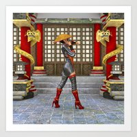 Asian Battle Woman Art Print