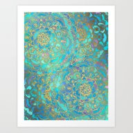 Sapphire & Jade Stained … Art Print