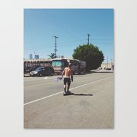 Skateboarder in Los Angeles Canvas Print