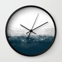 Ocean No. 1 - Minimal ocean sea ombre design  Wall Clock