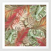 Jungle Tangle Red On Bro… Art Print