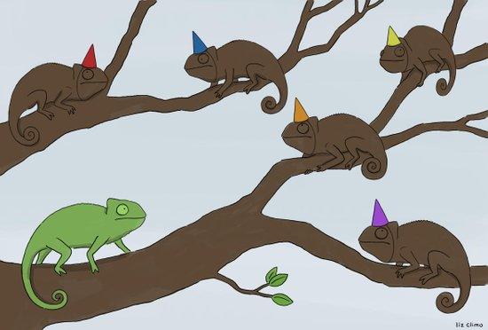 Chameleon Surprise Party  Art Print