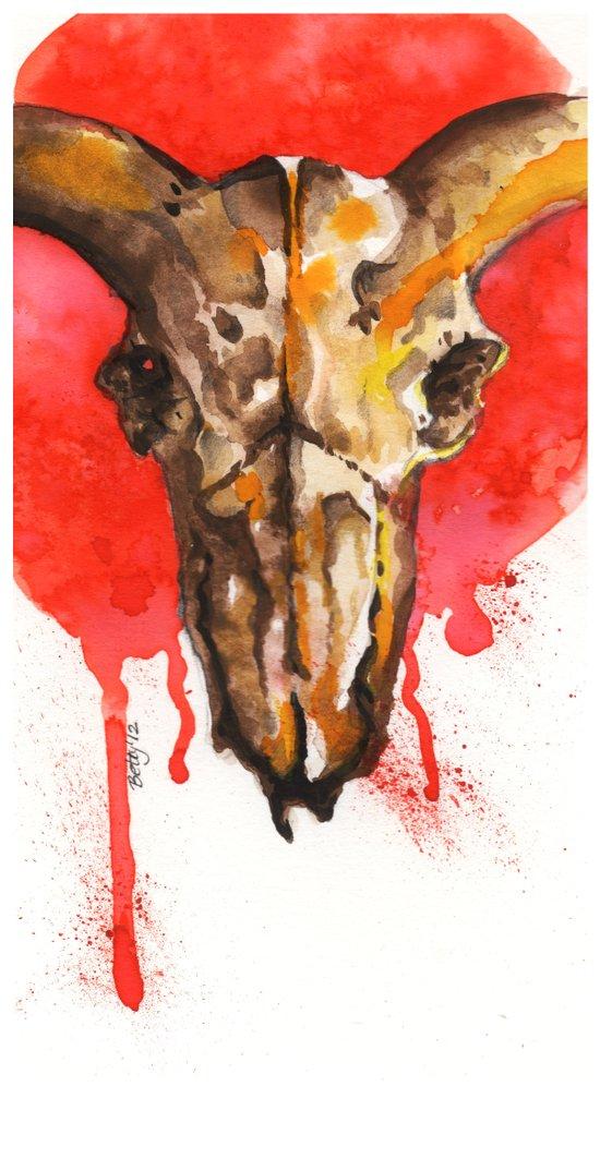 red moon skull Canvas Print