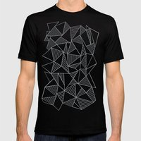 Abstraction Lines Grey Mens Fitted Tee Black SMALL