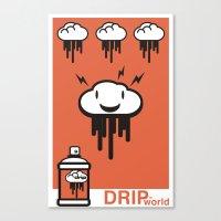 Drip World Orange Canvas Print