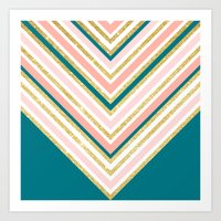 Modern Simple Chevron Pi… Art Print