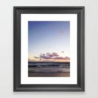 Sunset And Seagull Framed Art Print
