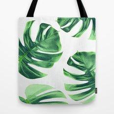 Monstera Leaves on White Tote Bag