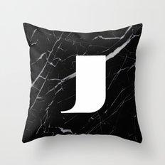 Black Marble - Alphabet J Throw Pillow