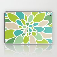 Green Teal Tan Abstract Flower Laptop & iPad Skin