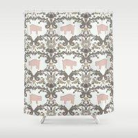Pig Damask Shower Curtain
