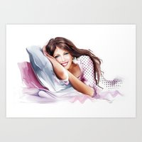 The Girl On The Pillow Art Print