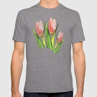 Tulips red Mens Fitted Tee Tri-Grey SMALL