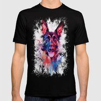 Drippy Jazzy German Shepherd Colorful Dog Art by Jai Johnson Mens Fitted Tee Black SMALL