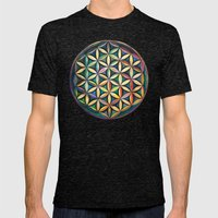 Flower of Life Mens Fitted Tee Tri-Black SMALL