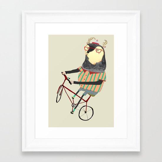 Deer on Bike.  Framed Art Print