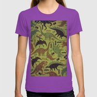 Camouflage Dinosaur Geometric Pattern Womens Fitted Tee Ultraviolet SMALL