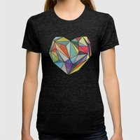 Heart Graphic 5 Womens Fitted Tee Tri-Black SMALL