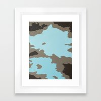 Aqua and Brown Abstract Framed Art Print