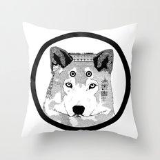 Hippie Wolf Throw Pillow