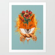 Art Print featuring Fox by Rururara