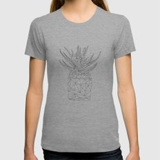 geometric plant in dark Womens Fitted Tee Athletic Grey SMALL