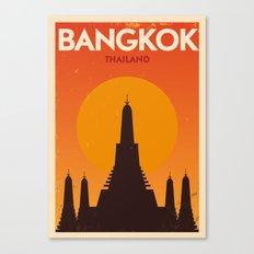 Bangkok City Retro Poster Canvas Print