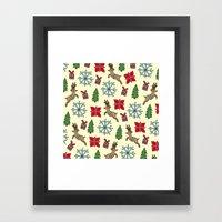 Reindeer And Poinsettias Framed Art Print
