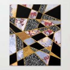 Abstract #486 Shards of Onyx, Marble & Gold Canvas Print