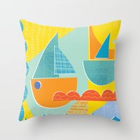3 Sail Boats At Sea 2 Throw Pillow