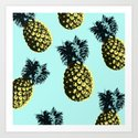Pineapple Express Aqua Art Print