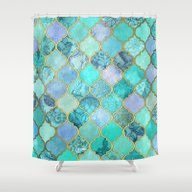 Cool Jade & Icy Mint Dec… Shower Curtain