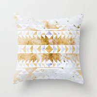 Burnt Gold Tribal Throw Pillow