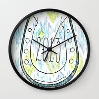 2013 - My Lucky Year Print, hand lettered horse-shoe Wall Clock