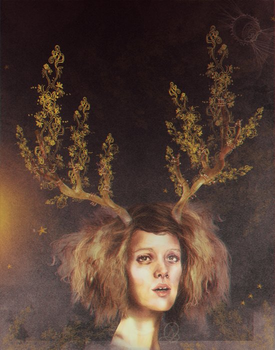 The Golden Antlers Art Print