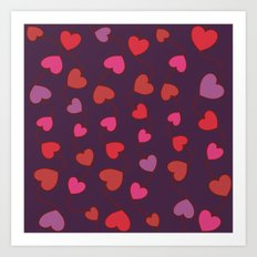 Shower Hearts Art Print