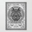 Legend of Zelda Twilight Wolf Link Line Art Canvas Print