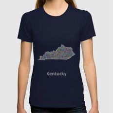 Kentucky map Womens Fitted Tee Navy SMALL