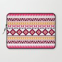 Pink Orange Bright Andes Abstract Aztec Pattern Laptop Sleeve