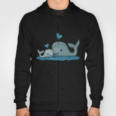 Whale Mom and Baby with Hearts Hoody