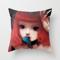 Chew my blue... Throw Pillow