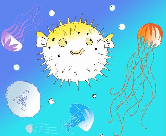 Little Fugu (Blue) Art Print