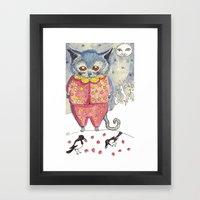 Moon Cat Framed Art Print