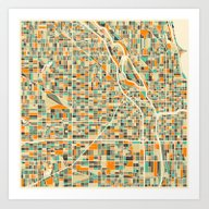 Art Print featuring Chicago Map by Jazzberry Blue