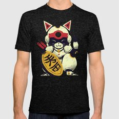 fortune pizza cat Mens Fitted Tee Tri-Black SMALL