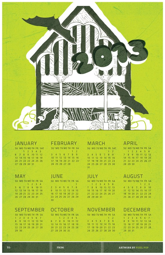 Bat House 2013 Calendar  Art Print