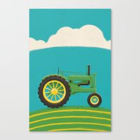 Old Green Tractor Canvas Print