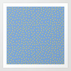 Yellow Pit on Blue /// www.pencilmeinstationery.com Art Print
