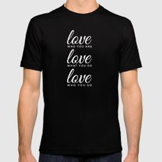love who love do SMALL Black Mens Fitted Tee