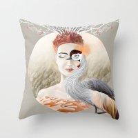 Bird Of Cranes Throw Pillow